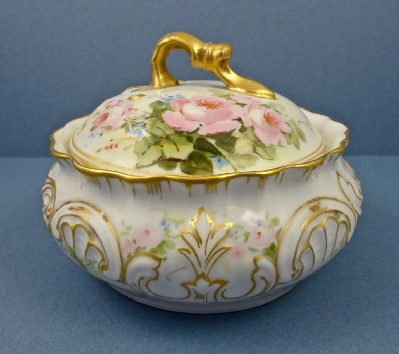 Antique T&V Limoges Covered Jar with Roses
