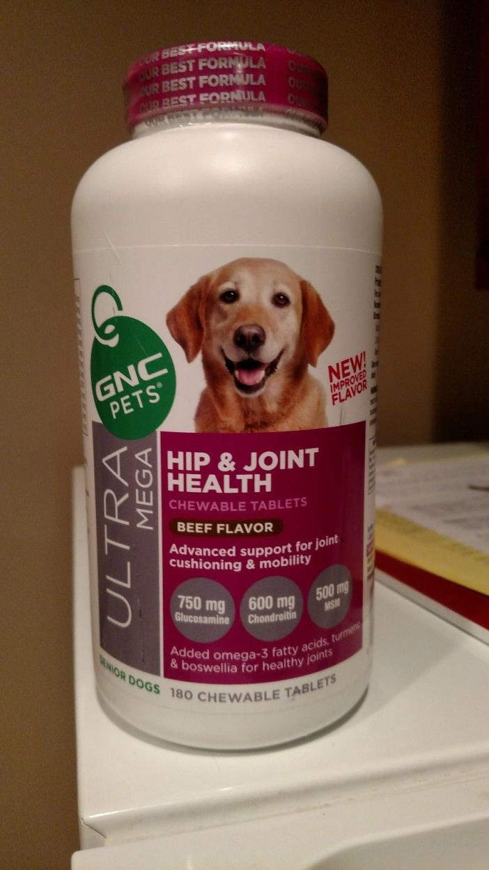 GNC Pets Mega Hip & Joint Health for Senior Dogs (180 Ct) Beef Flavor FREE SHIP