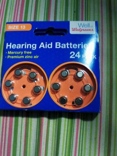 Walgreens Hearing Aid Batteries 24 PACK - Size 13 - Mercury Free * exp - 10/19