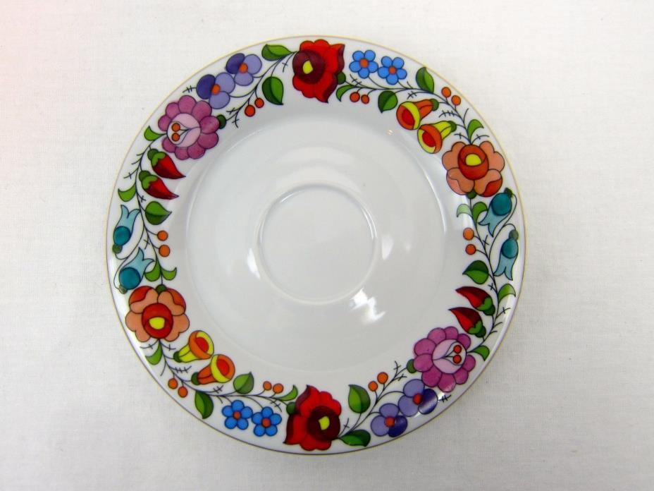Kalocsa Hungary Hand Painted Fine China Tea Cup Saucer