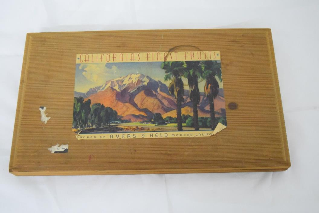 Vintage Wooden Fruit Box Tray Ayers Held Merced California Colorful Label