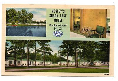 J4161: NC North Carolina ROCKY MOUNT~ MOSELY'S SHADY LAKE MOTEL Linen Postcard