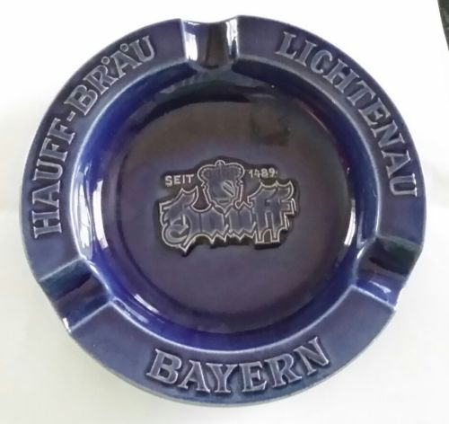 Pottery Navy Blue German Pub ashtray Hauff-Brau Lichtenau Bayern Wittekind