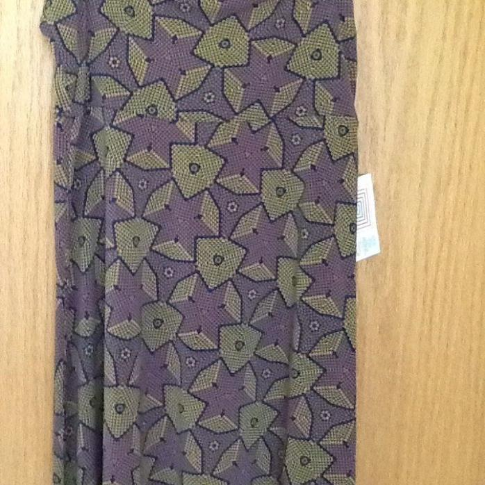 New LulaRoe Small Maxi skirt, light violet and olive