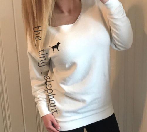 Victoria Secret Pink Off White Dog Logo Wide Neck Slouchy Tunic Crew Sweatshirt