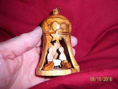 Carved Wood Nativity Bell Ornament Hand Crafted Bethlehem Jerusalem 30029