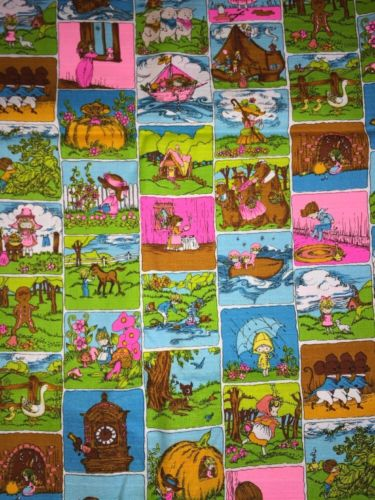 Vintage 70's Nursery Rhyme Cotton Fabric Hawaiian Textiles 44