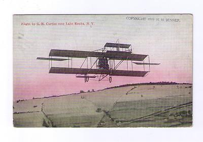 Early Postcard  circa 1910  Glenn Curtiss flying over Keuka Lake