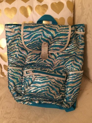 JUSTICE Sequin Turquoise Sparkle Backpack Pretty
