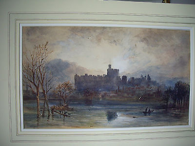 FINE original early 20th-C British Watercolor: Windsor Castle/Thames landscape