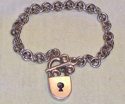 Sterling Silver MEXICAN Heavy LOCK & KEY TOGGLE Charm Bracelet 35.9 grams