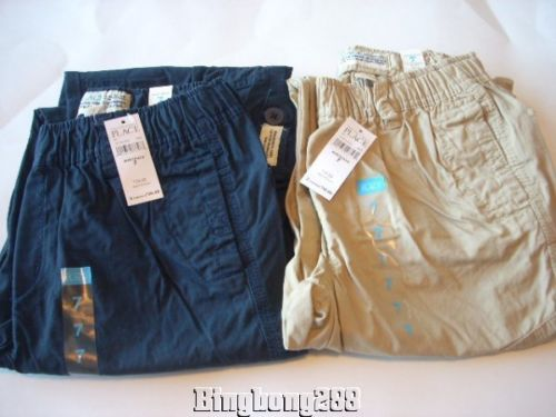 THE CHILDREN'S PLACE TCP Boy Navy Blue & Beige Roll Up Pants Size 7 NWT - 2 Pair
