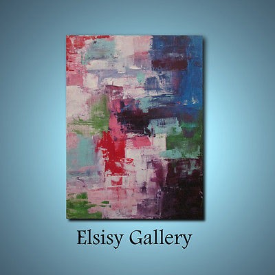Original lg palette knife 40x30 abstract painting wall art deco by Elsisy Blue