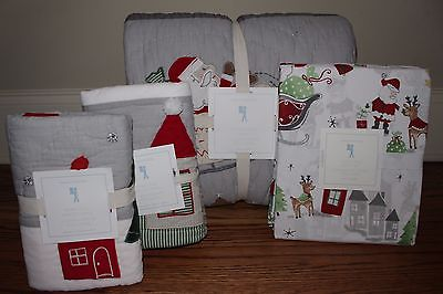 NWT Pottery Barn Kids North Pole twin quilt, 2 shams & cotton sheet Christmas