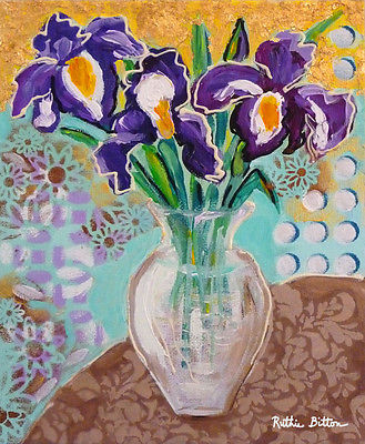 ORIGINAL TRENDY ART 8x10, PURPLE IRISES with GOLD LEAF, by Artist R. Bitton