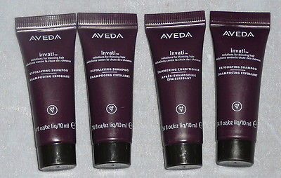 3 Aveda invati men exfoliating shampoo 1 conditioner 10 ML .34 Oz travel size jl