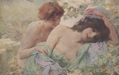 Love Of Amour And Psyche Antique Art Postcard