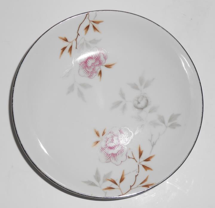 Kasugai Porcelain China Red Floral Platinum Band Fruit Bowl