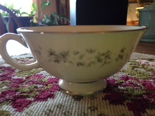 Lenox Brookdale Tea Cup Footed  Ivory Cup White Flower Green Vine USA