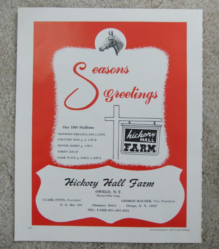 VINTAGE 1967 HICKORY HALL FARM AD HORSE HARNESS RACING STANDARDBRED OWEGO NY