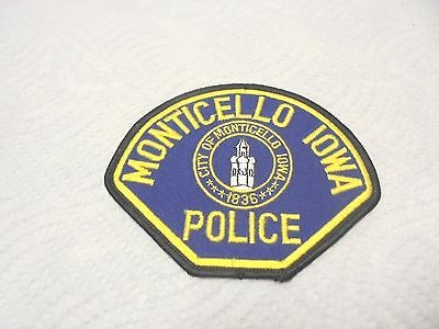 vintage cloth shoulder patch police monticello iowa