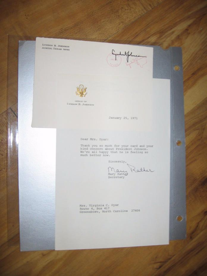 1971 Lyndon Johnson Reply Letter with Office Seal Signed- Secretary Mary Rather