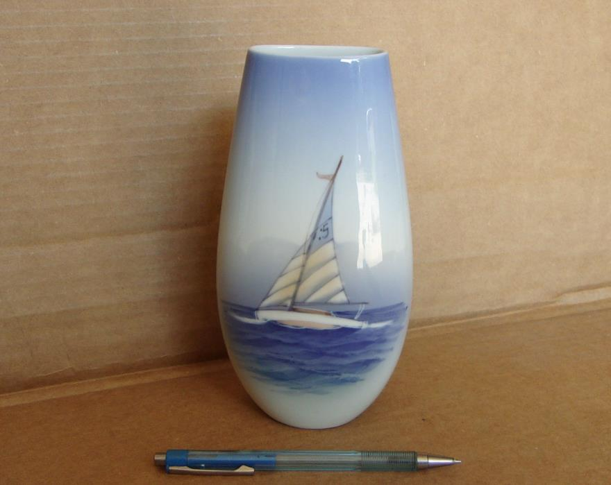 Danish Modern Porcelain Vase, Lyngby Copenhagen Denmark, Sailboat Nautical