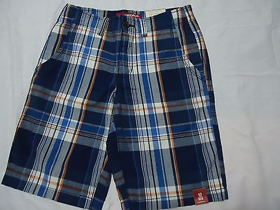 NWT BOYS SIZE 12 REGULAR ARIZONA FLAT FRONT CHINO PLAID SHORT ADJUSTABLE WAIST