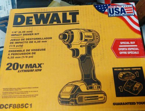 DEWALT DCF885C1 20V 1.5Ah Li 1/4