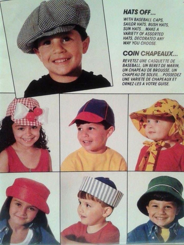 McCall's 1992 Uncut Crafts Pattern 796 15 Different Children's Hat Cap Bonnet