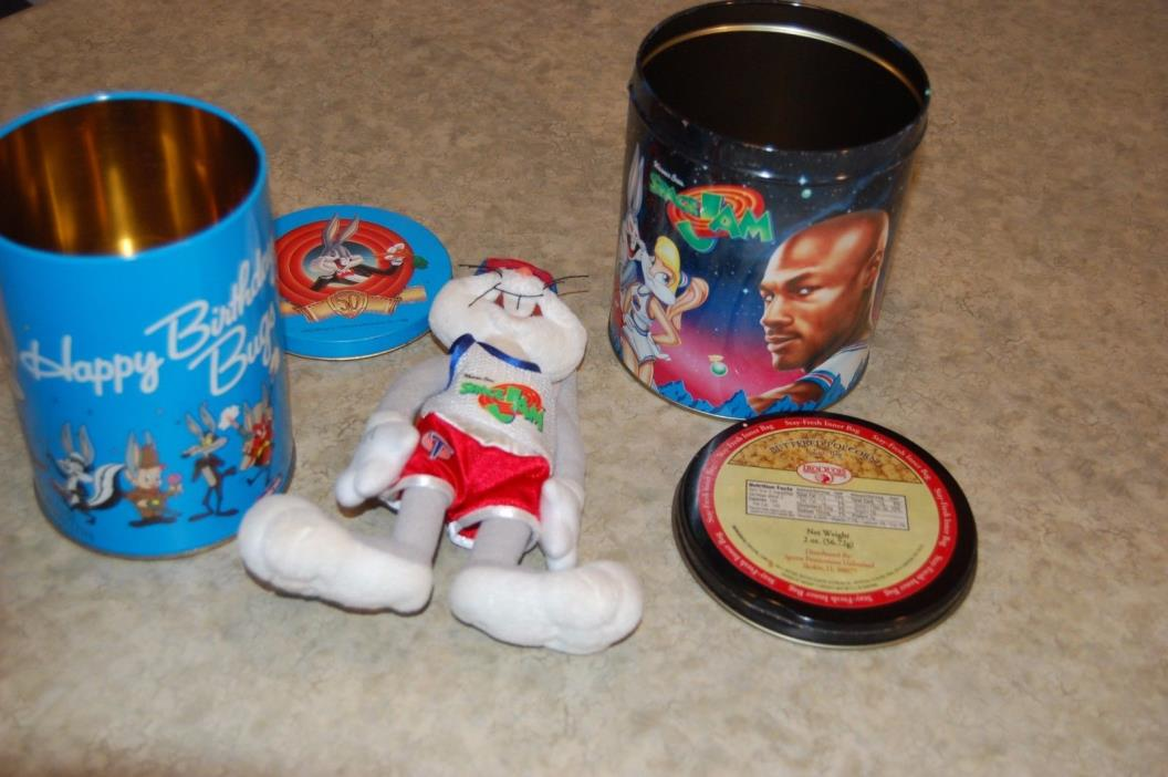 VTG Space Jam Metal Collectible Tin Looney Tunes Michael Jordan extra tin, toy