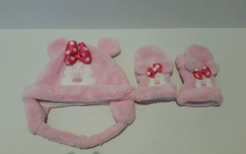DISNEY PARKS Baby/Toddler Girl Minnie Mouse Hat & Gloves Pink EUC