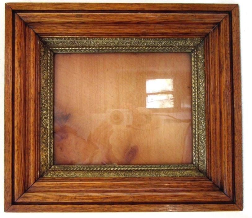 ANTIQUE FITS 9X11 OAK PICTURE FRAME GOLD GILT DEEP FINE ART 1880 ARTS CRAFTS