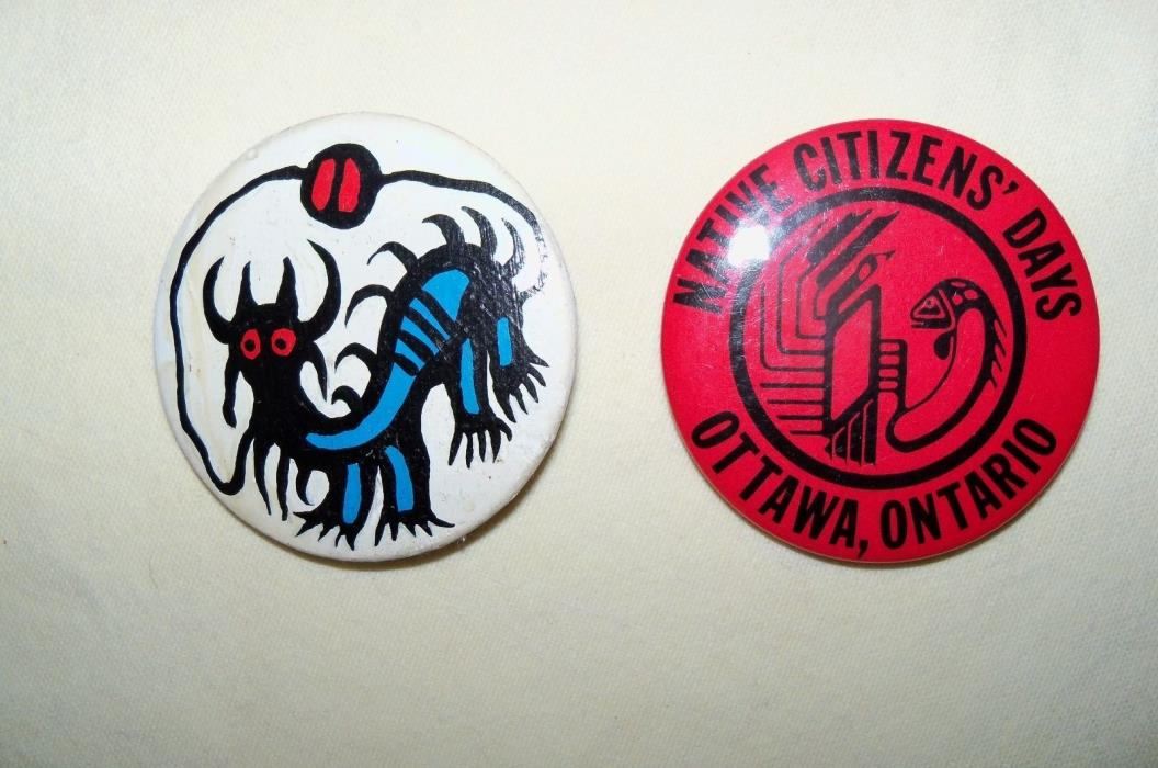 2 Canada Native pinbacks Ottawa Original art handpainted Ontario First Nations
