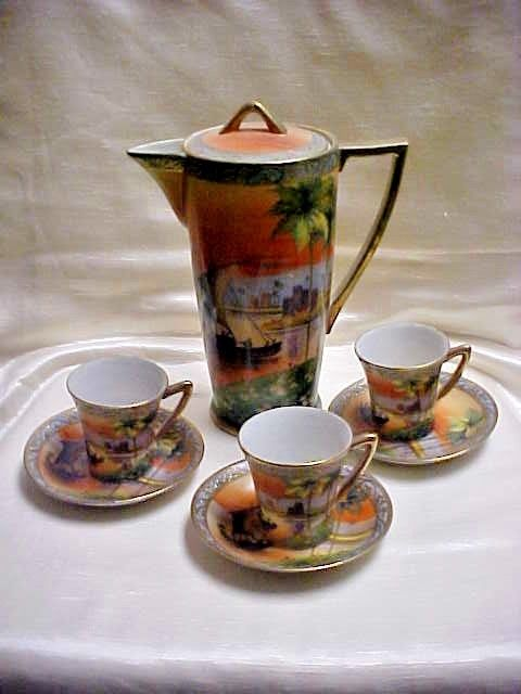 Rare Early 1900's Nagoya China Nippon Japan Porcelain Coffee Pot w/ Cups saucers
