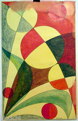 1974 ABSTRACT COMPOSITION drawing by u/k Russian artist