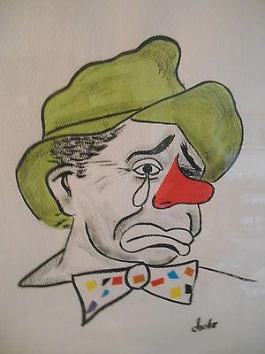Original Signed Sasko Vintage 1950s Painting Sad Circus Clown Portrait Kitsch