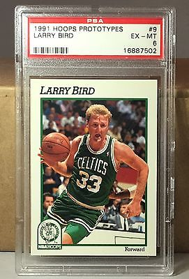 1991 HOOPS PROTOTYPES #9 LARRY BIRD PSA 6 EX-MT BOSTON CELTICS HOF