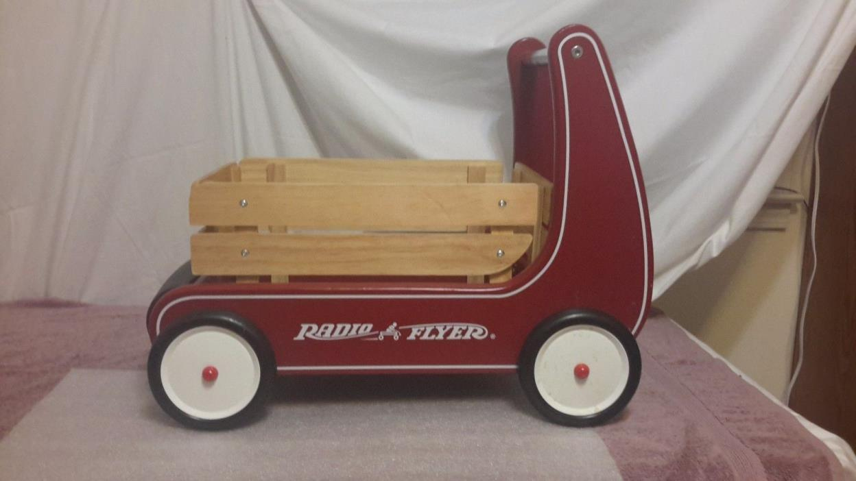 Kids Baby Vintage Red Walker Push Wagon Radio Flyer Ride On Wooden Toy Cart