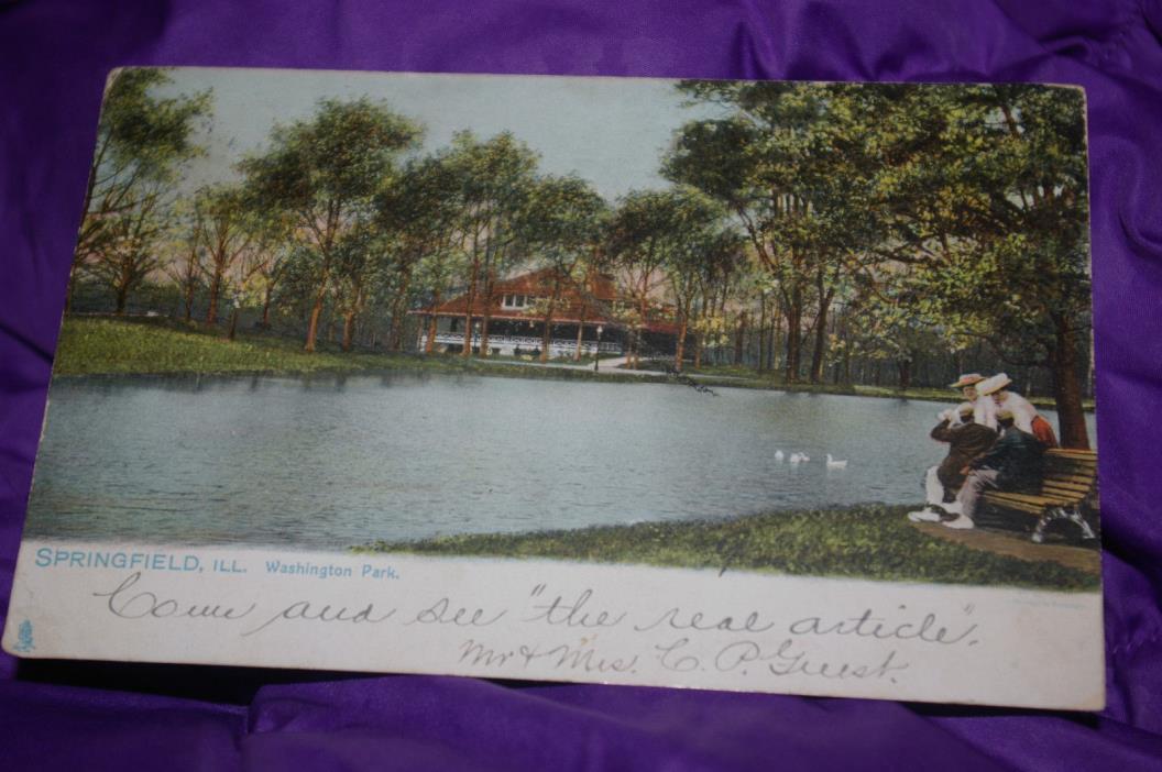 Washington Park Springfield, Illinois Postcard Lake View Raphael Tuck & Sons Old