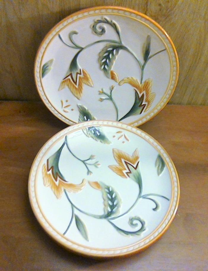 Set of 4 Fitz and Floyd Grand Haven Floral Salad Plate - 8 5/8
