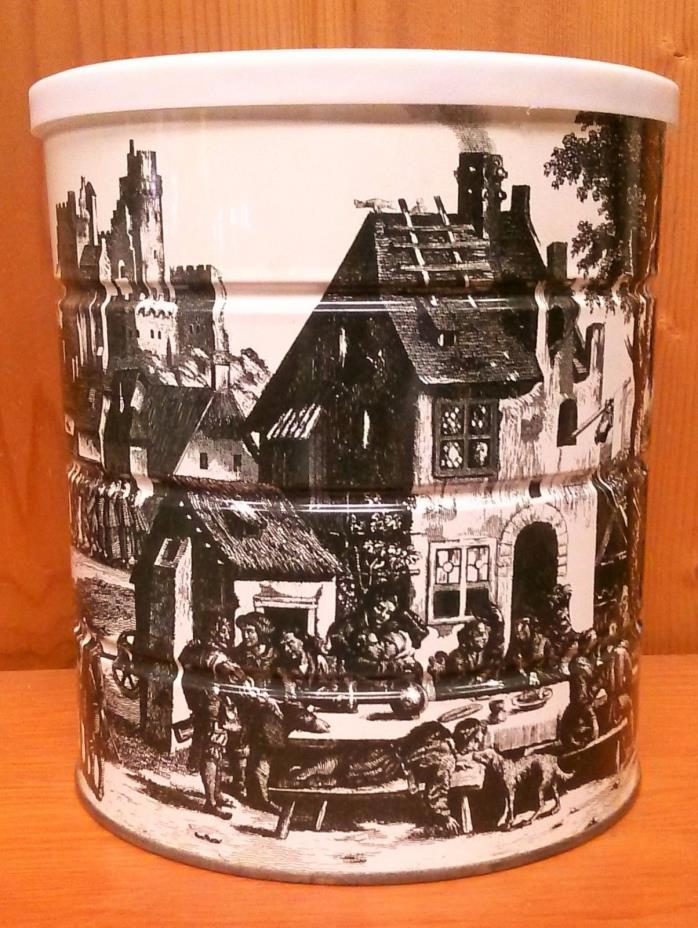 1969 Renaissance Village Painting Hills Brothers Coffee Can - Great Condition
