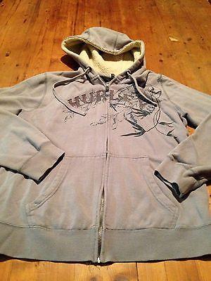 Junior's Hurley Gray Hooded Zip Front Long Sleeve Sweat Jacket  Hoodie - Small