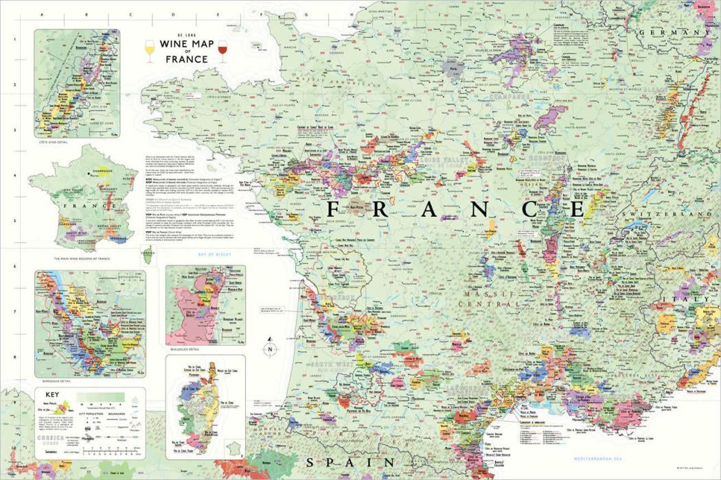 Wine Map of France by Steve De Long (MAP)