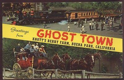Wagon Horses Ghost Town Knott's Berry Farm Train 41 Greeting Railroad Postcard