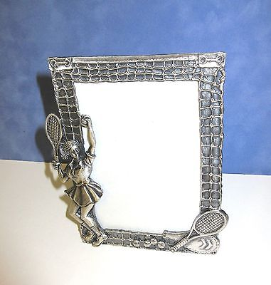 Pewter Tennis Sports Easel back frame for 3 x 5 photo/glass