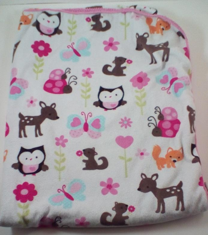 Circo White Pink Blanket Owl Butterfly Deer Ladybug Flower Fox Forest Animals