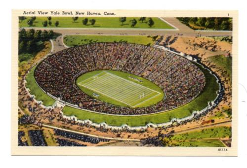 3991: CONN New Haven YALE BOWL Aerial View  c1940s Unused Exclt Postcard