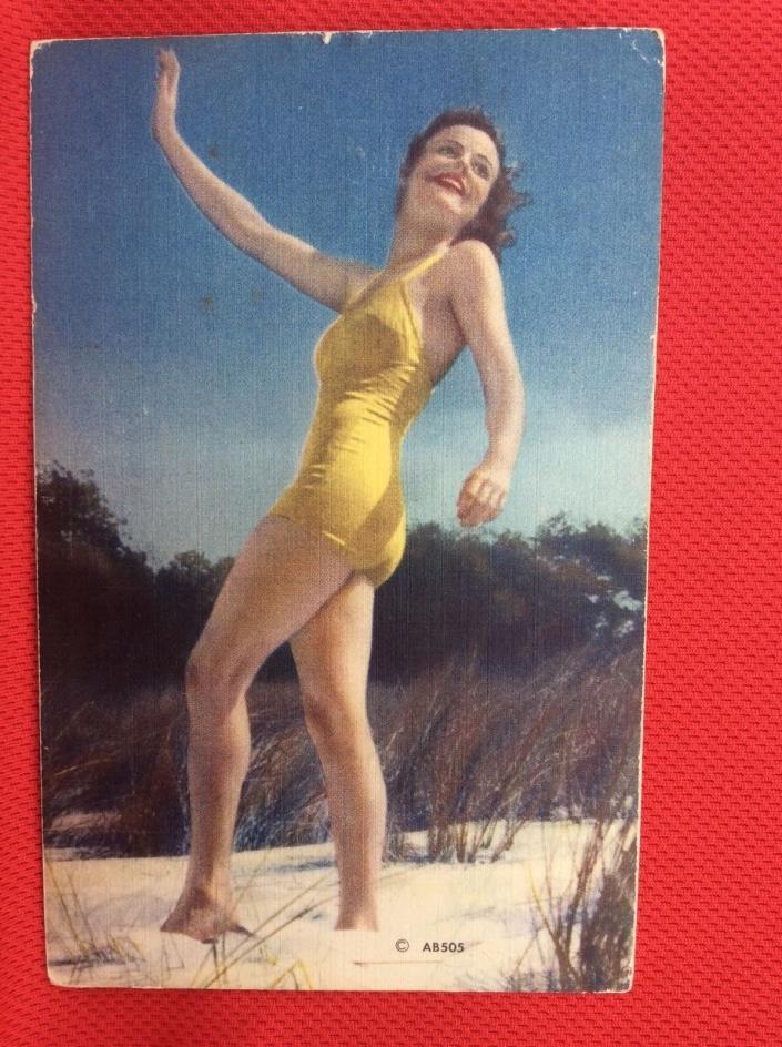 X15 Lady in Swim Suit Yelloe Bikini Risqué  1900's  Postcard