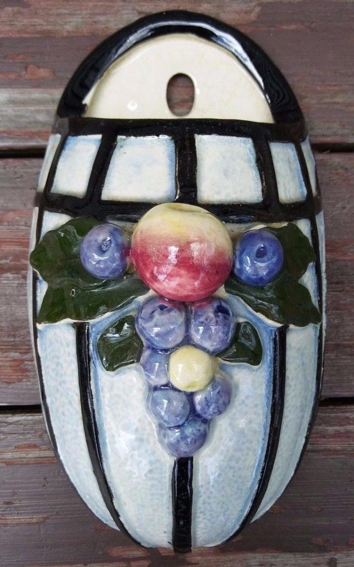 VINTAGE ART POTTERY WALL POCKET w/ FRUIT - MADE IN JAPAN